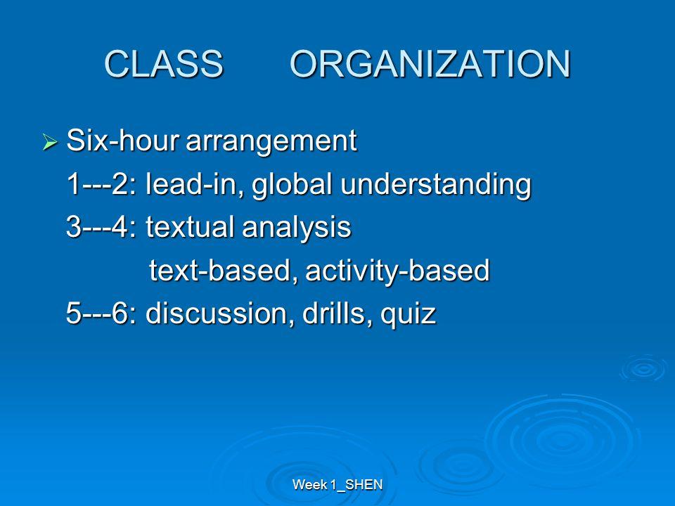 Week 1_SHEN CLASS ORGANIZATION  Six-hour arrangement 1---2: lead-in, global understanding 1---2: lead-in, global understanding 3---4: textual analysi