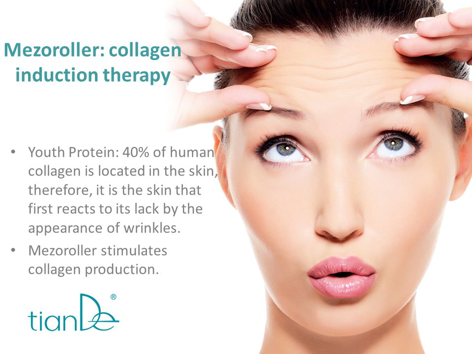 Mezoroller: collagen induction therapy Youth Protein: 40% of human collagen is located in the skin, therefore, it is the skin that first reacts to its