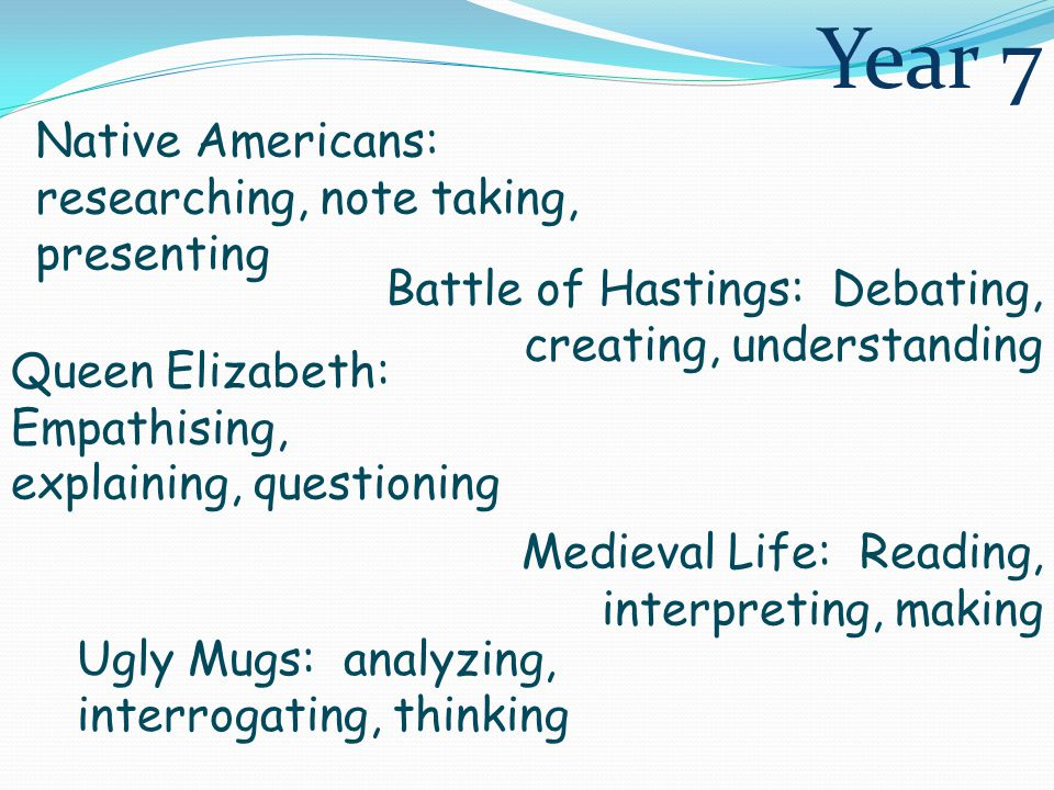 Native Americans: researching, note taking, presenting Battle of Hastings: Debating, creating, understanding Medieval Life: Reading, interpreting, making Queen Elizabeth: Empathising, explaining, questioning Ugly Mugs: analyzing, interrogating, thinking Year 7