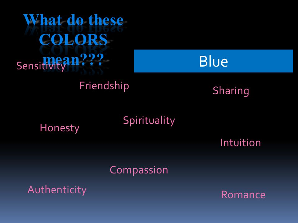Blue Sensitivity Sharing Spirituality Compassion Honesty Intuition Friendship Romance Authenticity
