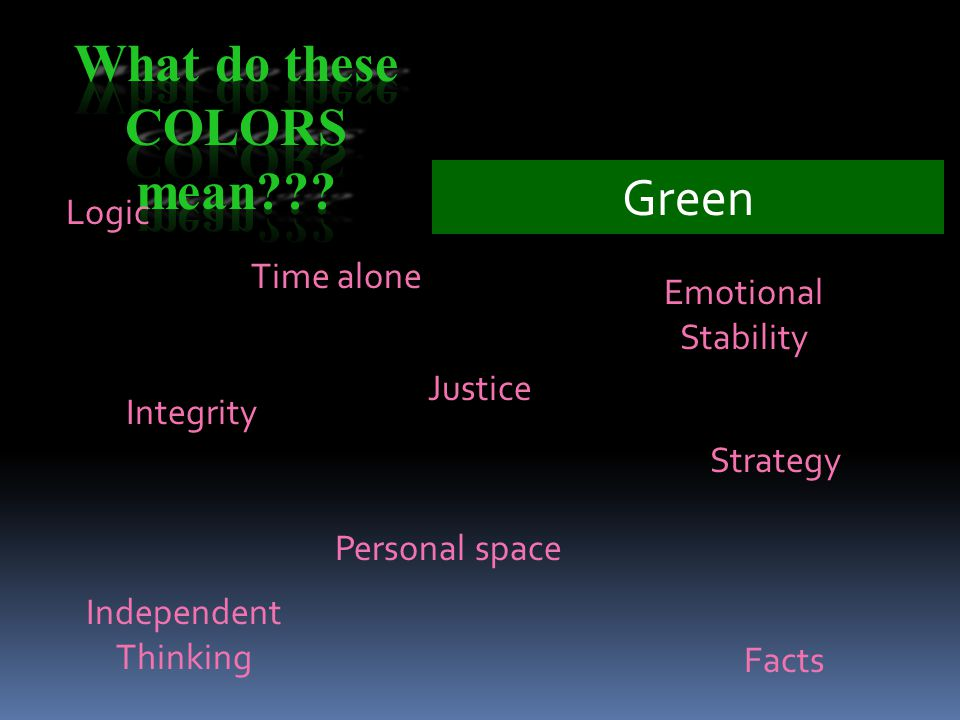 Green Logic Emotional Stability Justice Personal space Integrity Strategy Time alone Facts Independent Thinking