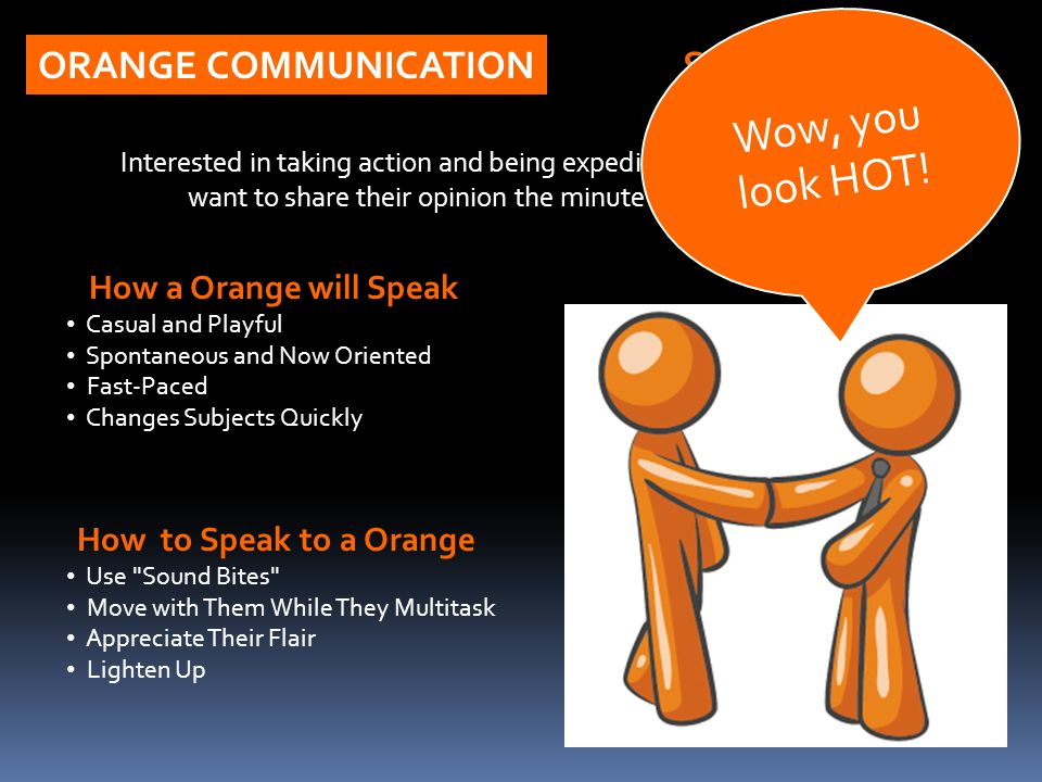 How a Orange will Speak Casual and Playful Spontaneous and Now Oriented Fast-Paced Changes Subjects Quickly ORANGE COMMUNICATION Interested in taking