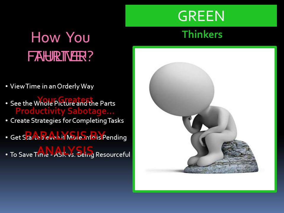 How You THRIVE! GREEN View Time in an Orderly Way See the Whole Picture and the Parts Create Strategies for Completing Tasks Get Started even if More