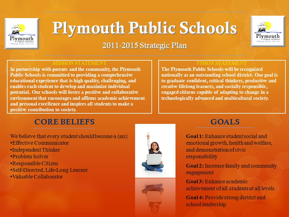 Plymouth Public Schools 2011-2015 Strategic Plan MISSION STATEMENT In partnership with parents and the community, the Plymouth Public Schools is committed to providing a comprehensive educational experience that is high quality, challenging, and enables each student to develop and maximize individual potential.