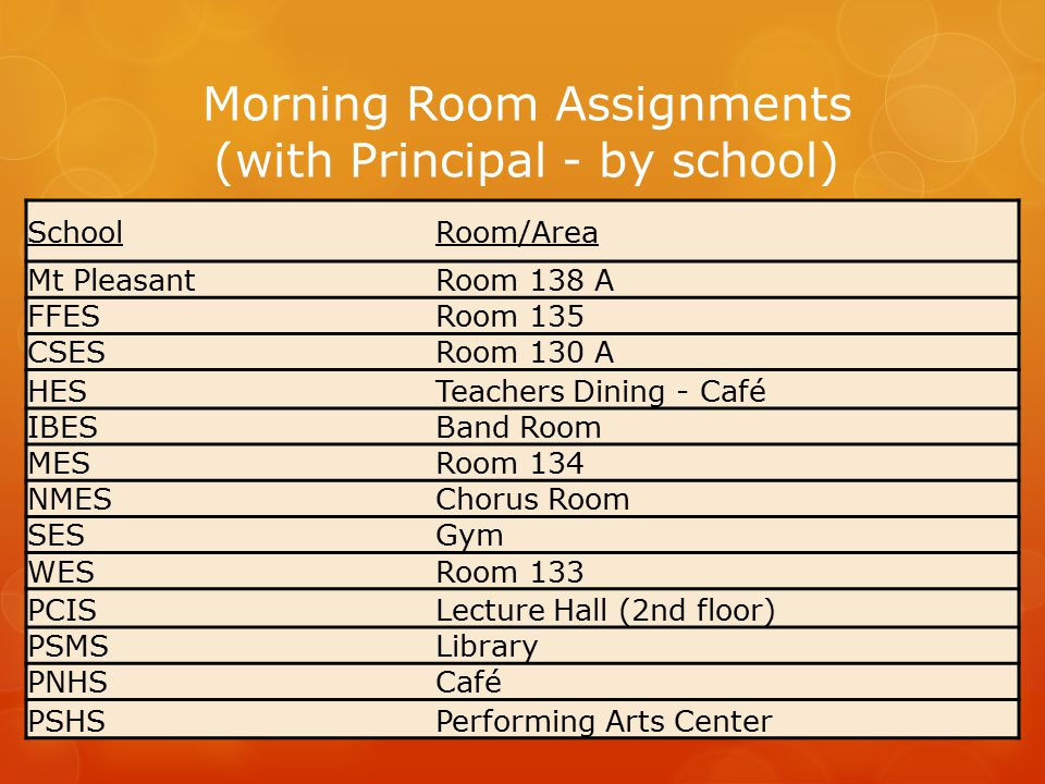 SchoolRoom/Area Mt PleasantRoom 138 A FFESRoom 135 CSESRoom 130 A HESTeachers Dining - Café IBESBand Room MESRoom 134 NMESChorus Room SESGym WESRoom 1