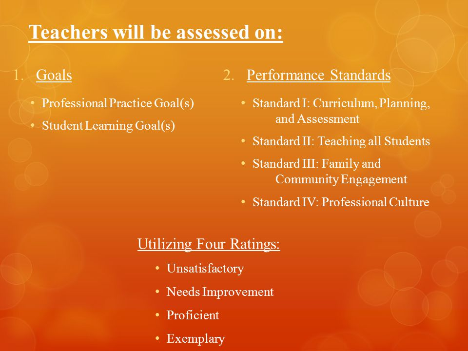 Teachers will be assessed on: 1.Goals Professional Practice Goal(s) Student Learning Goal(s) 2.Performance Standards Standard I: Curriculum, Planning,