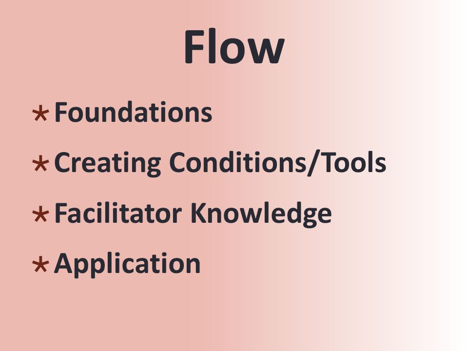 Flow  Foundations  Creating Conditions/Tools  Facilitator Knowledge  Application