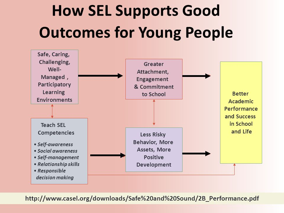 Teach SEL Competencies Self-awareness Social awareness Self-management Relationship skills Responsible decision making Greater Attachment, Engagement & Commitment to School Less Risky Behavior, More Assets, More Positive Development Better Academic Performance and Success in School and Life Safe, Caring, Challenging, Well- Managed, Participatory Learning Environments How SEL Supports Good Outcomes for Young People http://www.casel.org/downloads/Safe%20and%20Sound/2B_Performance.pdf