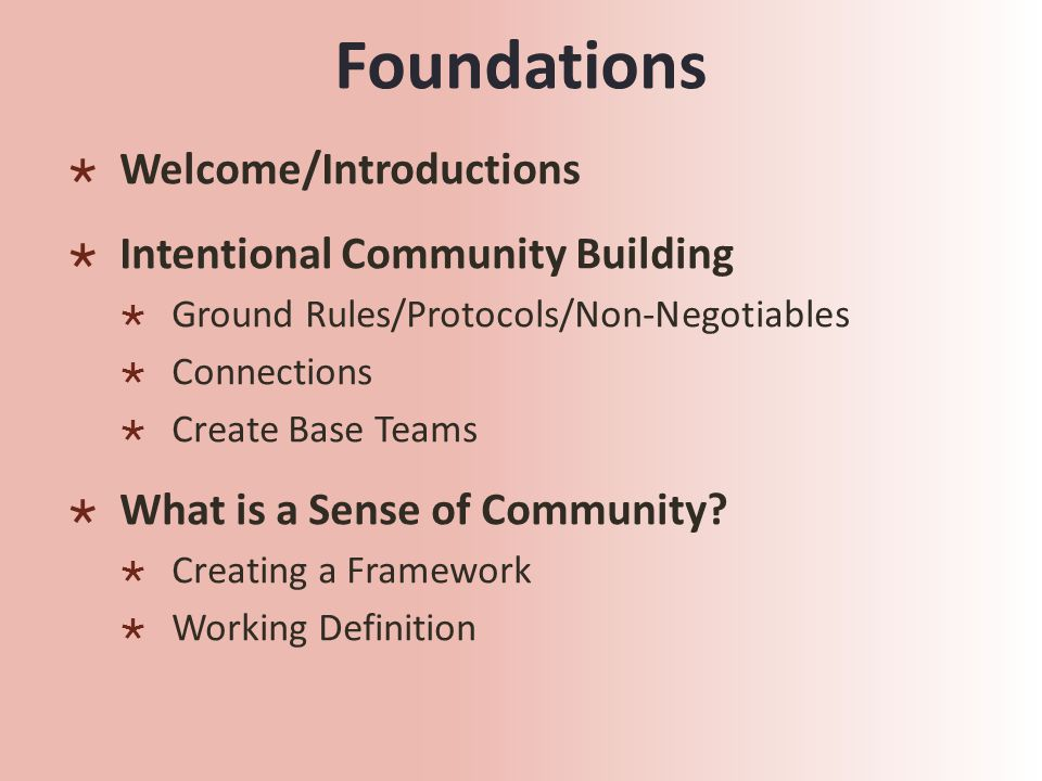 Foundations  Welcome/Introductions  Intentional Community Building  Ground Rules/Protocols/Non-Negotiables  Connections  Create Base Teams  What is a Sense of Community.