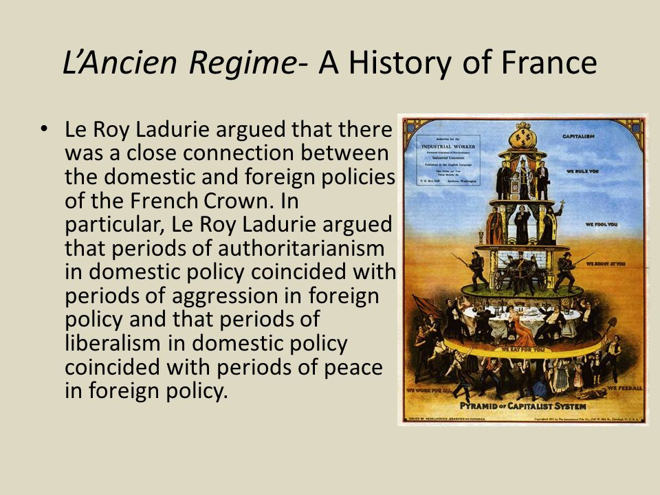 L'Ancien Regime- A History of France Le Roy Ladurie argued that there was a close connection between the domestic and foreign policies of the French Crown.