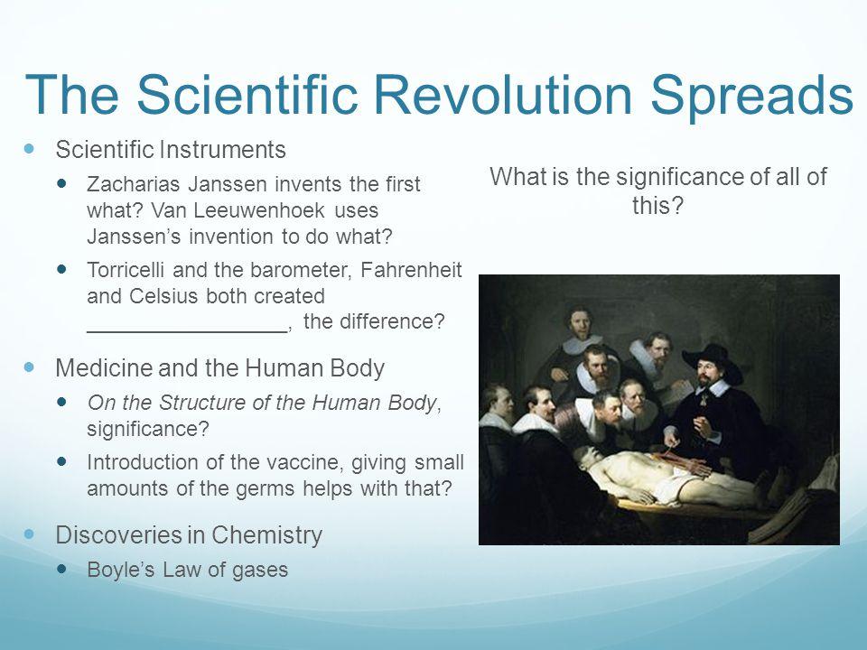 The Scientific Revolution Spreads Scientific Instruments Zacharias Janssen invents the first what.