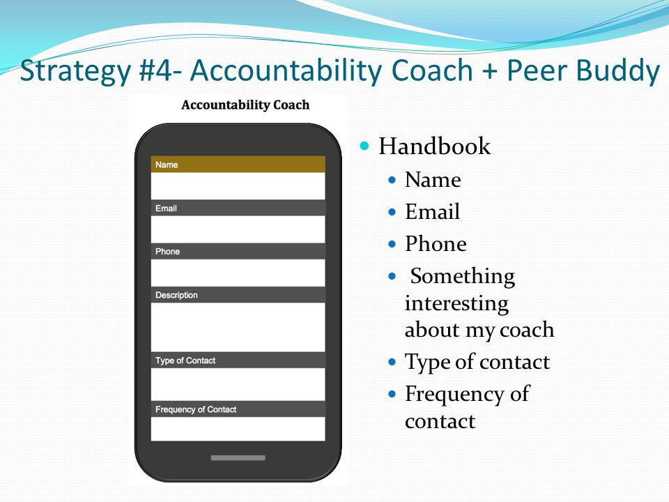 Strategy #4- Accountability Coach + Peer Buddy Handbook Name Email Phone Something interesting about my coach Type of contact Frequency of contact