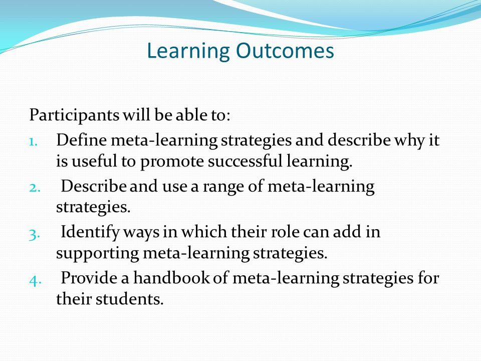 Learning Outcomes Participants will be able to: 1.