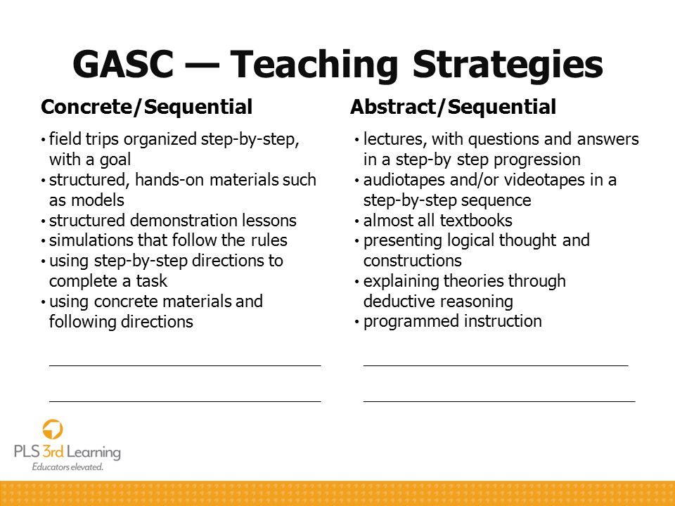 GASC — Teaching Strategies Concrete/Sequential field trips organized step-by-step, with a goal structured, hands-on materials such as models structure