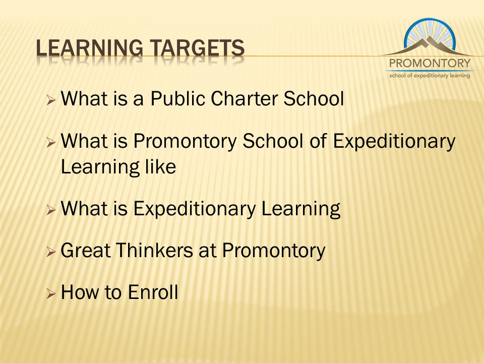  What is a Public Charter School  What is Promontory School of Expeditionary Learning like  What is Expeditionary Learning  Great Thinkers at Promontory  How to Enroll