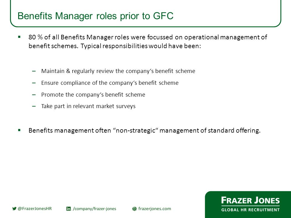 Benefits Manager roles prior to GFC  80 % of all Benefits Manager roles were focussed on operational management of benefit schemes.