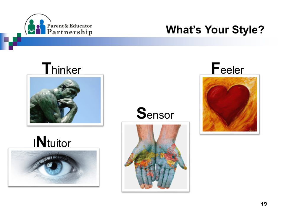 19 What's Your Style? T hinker F eeler S ensor I N tuitor