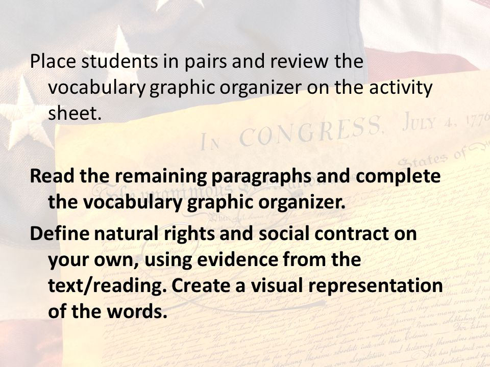 Place students in pairs and review the vocabulary graphic organizer on the activity sheet. Read the remaining paragraphs and complete the vocabulary g