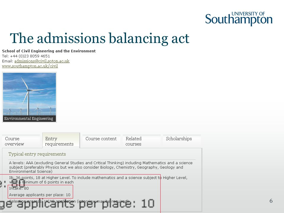 6 The admissions balancing act
