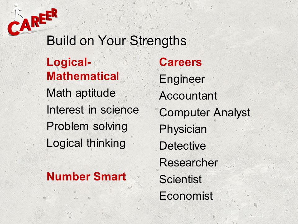 Build on Your Strengths Logical- Mathematical Math aptitude Interest in science Problem solving Logical thinking Number Smart Careers Engineer Account