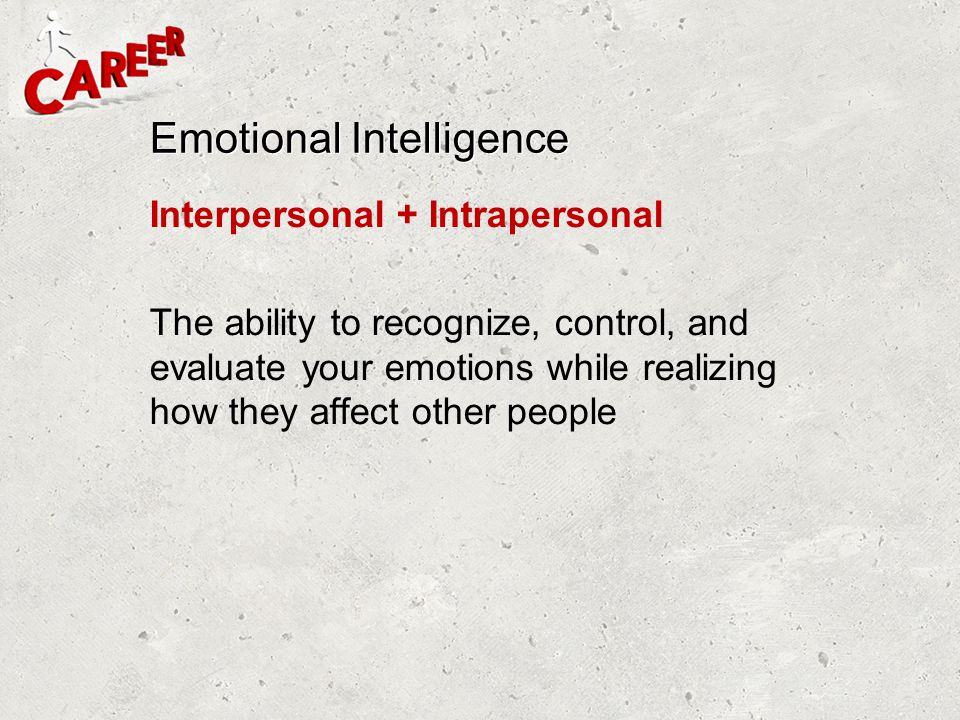 Emotional Intelligence Interpersonal + Intrapersonal The ability to recognize, control, and evaluate your emotions while realizing how they affect oth