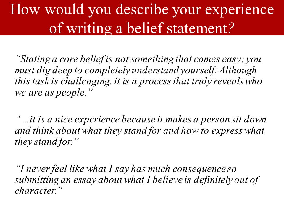 How would you describe your experience of writing a belief statement.