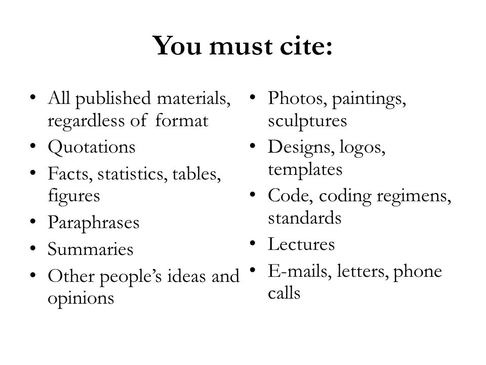 You must cite: All published materials, regardless of format Quotations Facts, statistics, tables, figures Paraphrases Summaries Other people's ideas and opinions Photos, paintings, sculptures Designs, logos, templates Code, coding regimens, standards Lectures E-mails, letters, phone calls