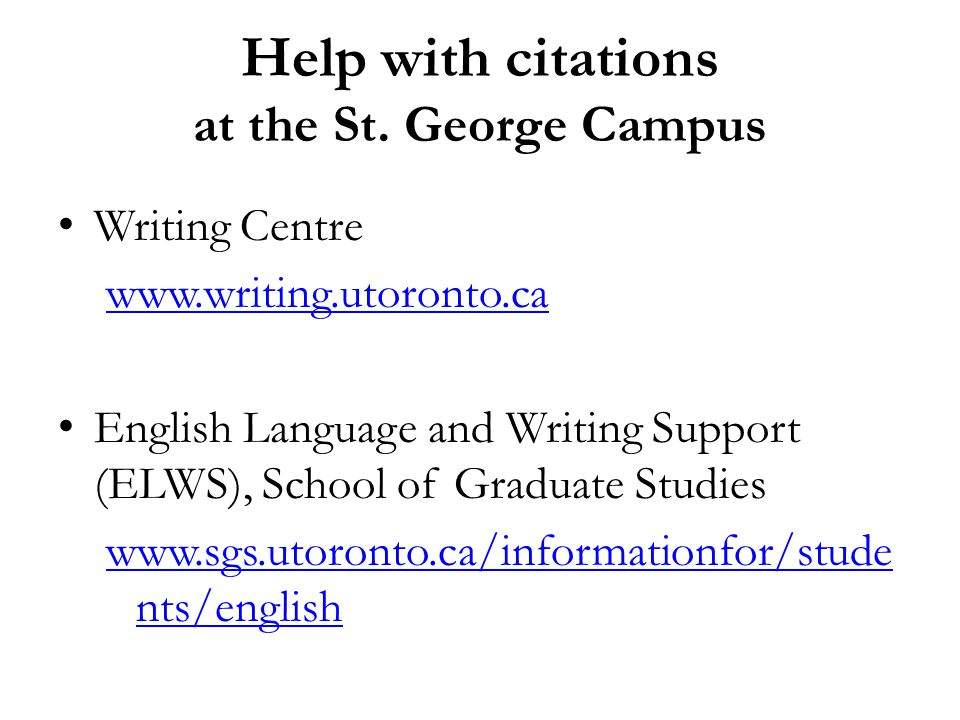 Help with citations at the St.