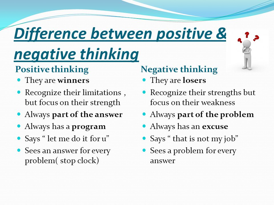 Difference between positive & negative thinking Positive thinking They are winners Recognize their limitations, but focus on their strength Always par
