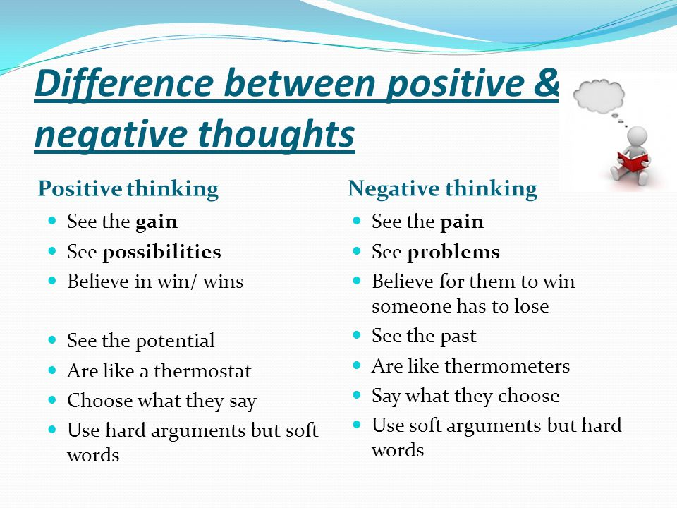 Difference between positive & negative thoughts Positive thinking See the gain See possibilities Believe in win/ wins See the potential Are like a the