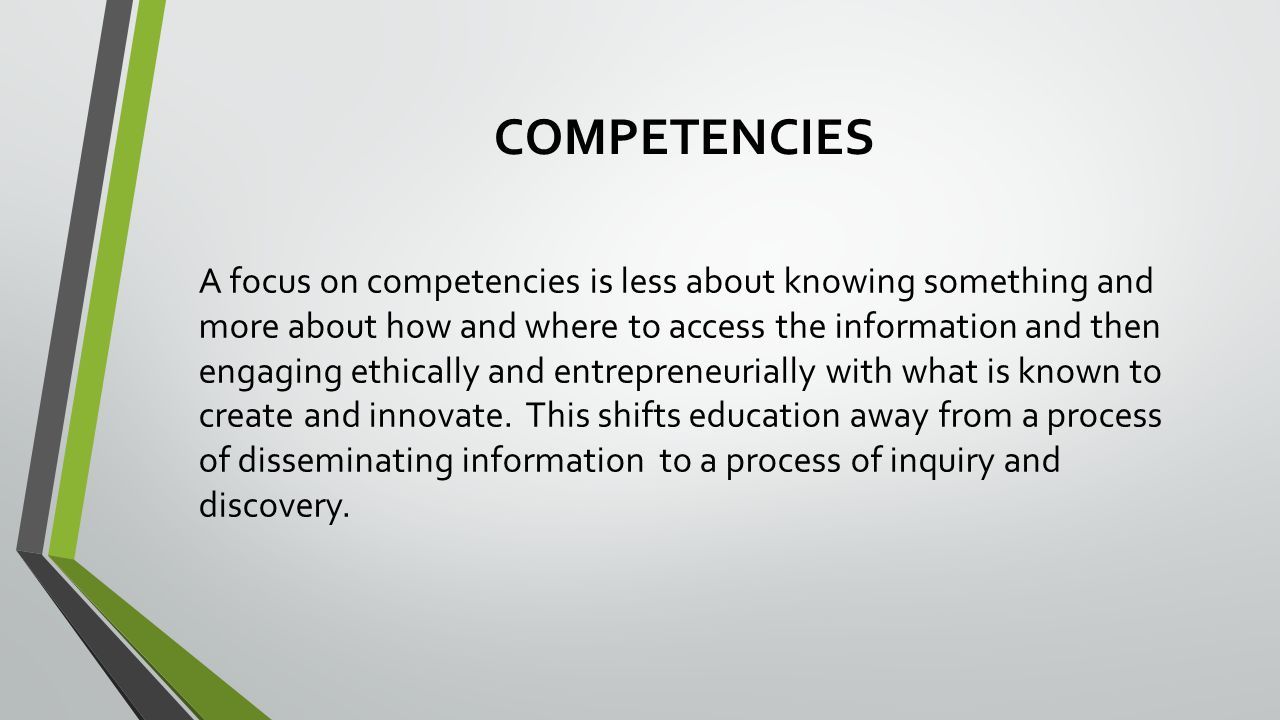 COMPETENCIES A focus on competencies is less about knowing something and more about how and where to access the information and then engaging ethically and entrepreneurially with what is known to create and innovate.