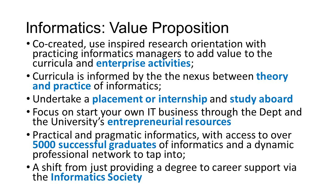 Informatics UG & PG Curriculum Offer Undergraduate, Postgraduate and PhD programmes Over 500+ students Newly validated courses More business flavour then traditional Computer Science & Computer Engineering Web Links: http://www.lsbu.ac.uk/courses/course-finder?query=informatics