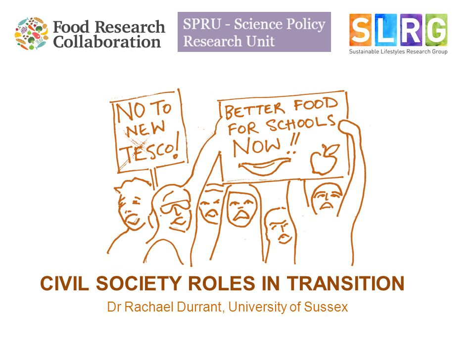 CIVIL SOCIETY ROLES IN TRANSITION Dr Rachael Durrant, University of Sussex