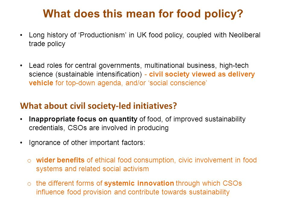 What does this mean for food policy.