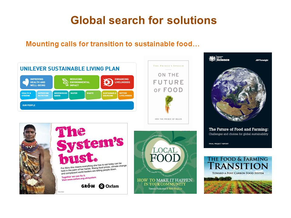 Global search for solutions Mounting calls for transition to sustainable food…