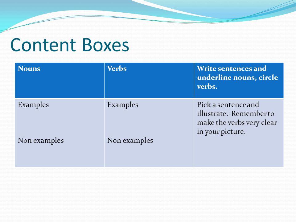Content Boxes NounsVerbsWrite sentences and underline nouns, circle verbs.