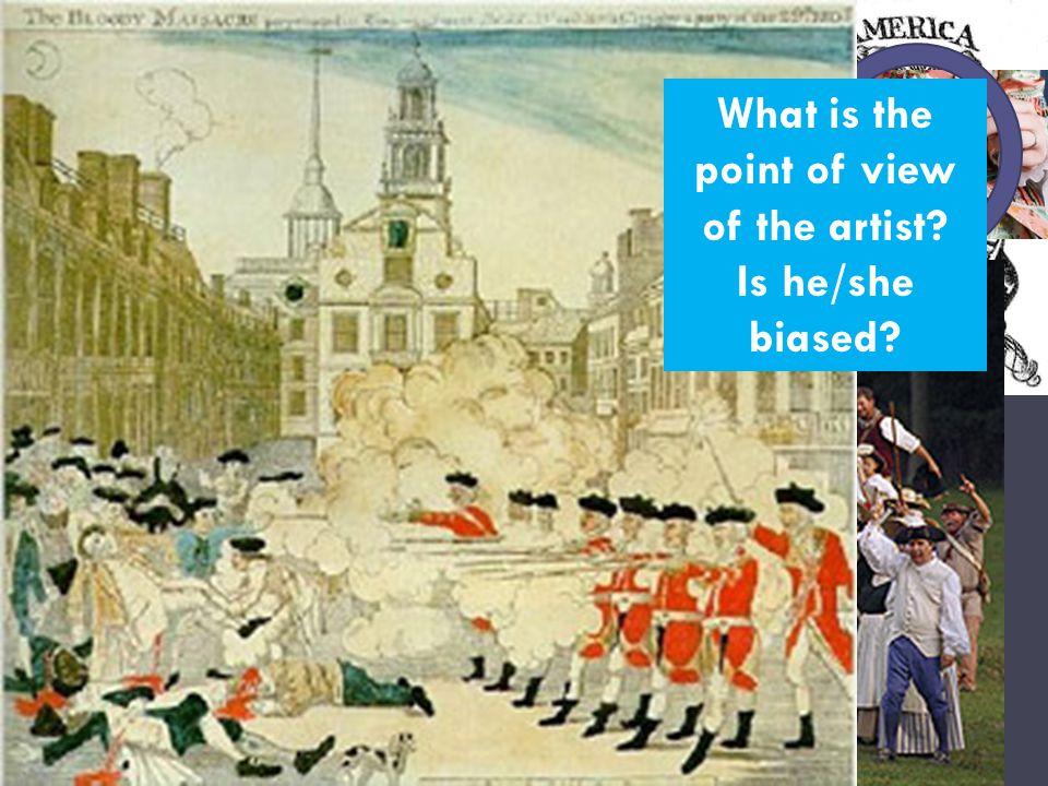 Tensions rise in the colonies What is the point of view of the artist Is he/she biased