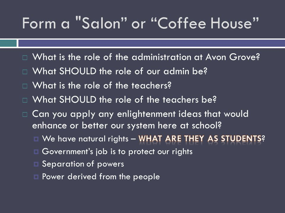 Form a Salon or Coffee House