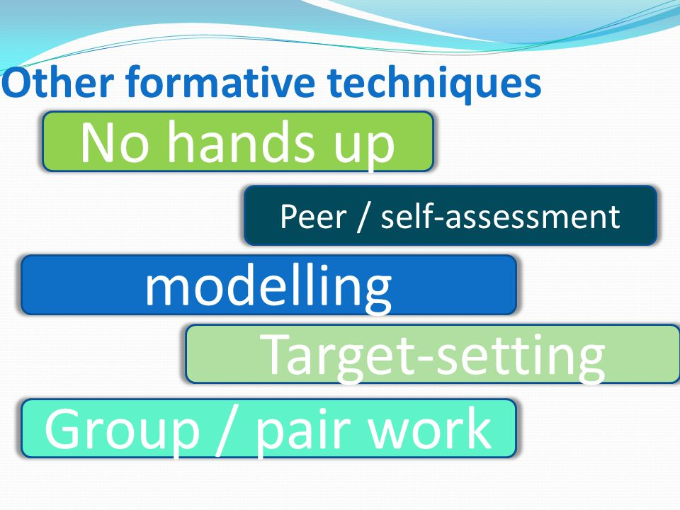No hands up Peer / self-assessment modelling Other formative techniques Target-setting Group / pair work