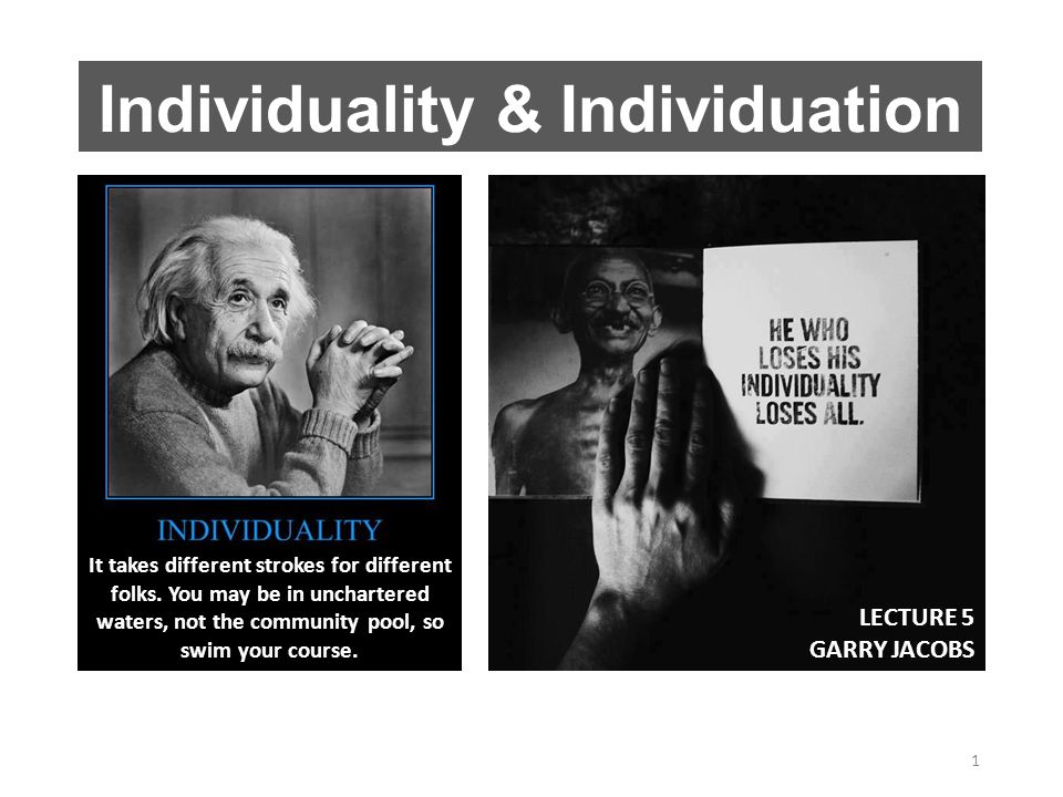 Individuality & Individuation 1 It takes different strokes for different folks.