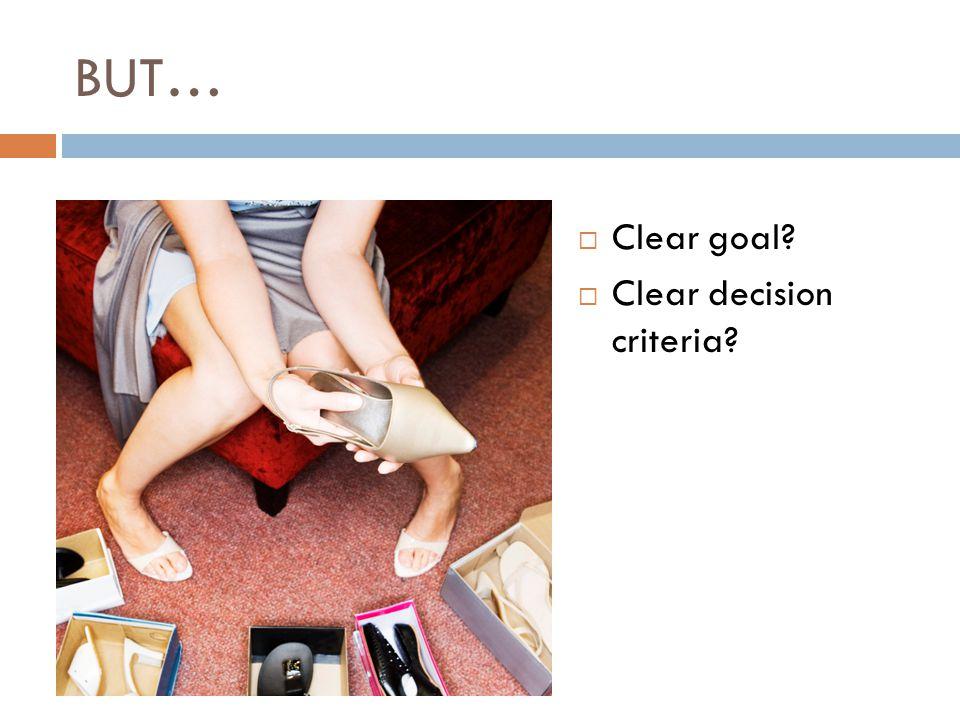 BUT…  Clear goal?  Clear decision criteria?