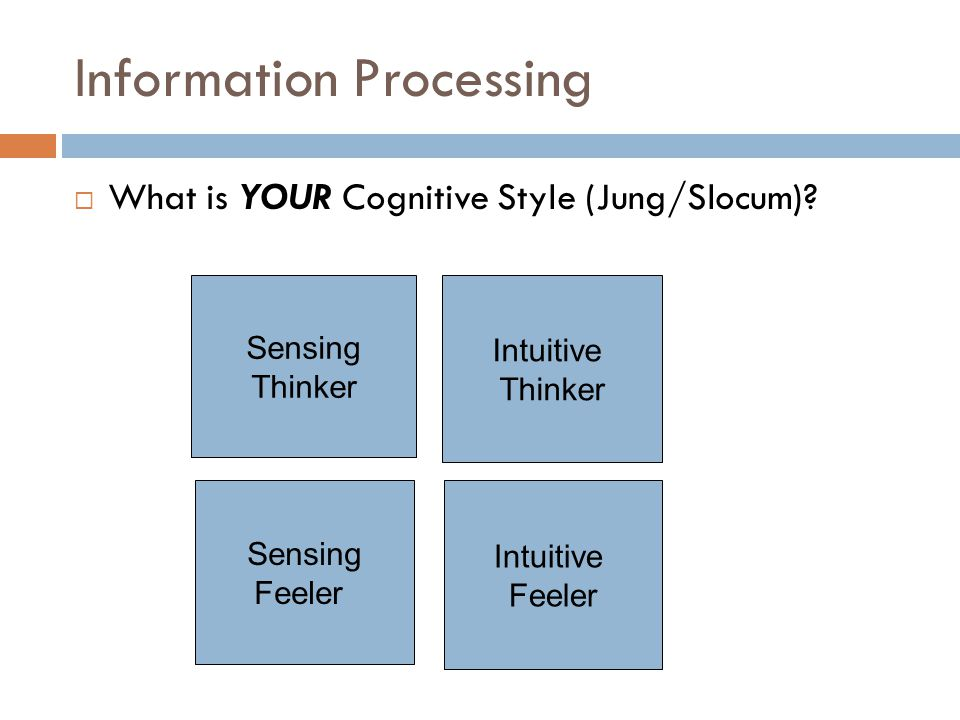 Information Processing  What is YOUR Cognitive Style (Jung/Slocum)? Sensing Thinker Intuitive Thinker Sensing Feeler Intuitive Feeler