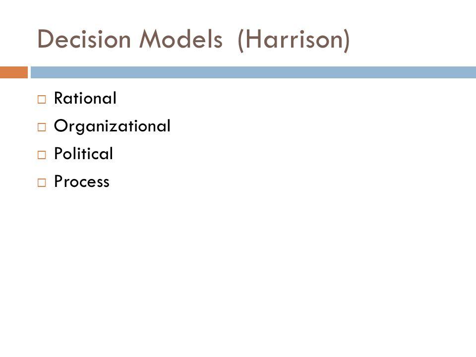 Decision Models (Harrison)  Rational  Organizational  Political  Process