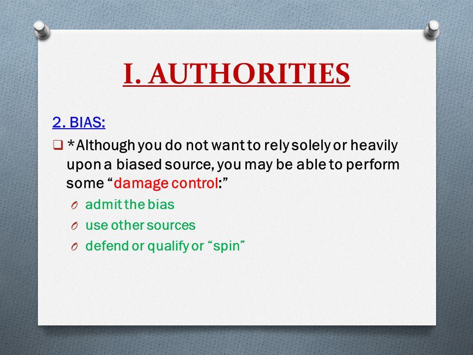 I. AUTHORITIES 2.