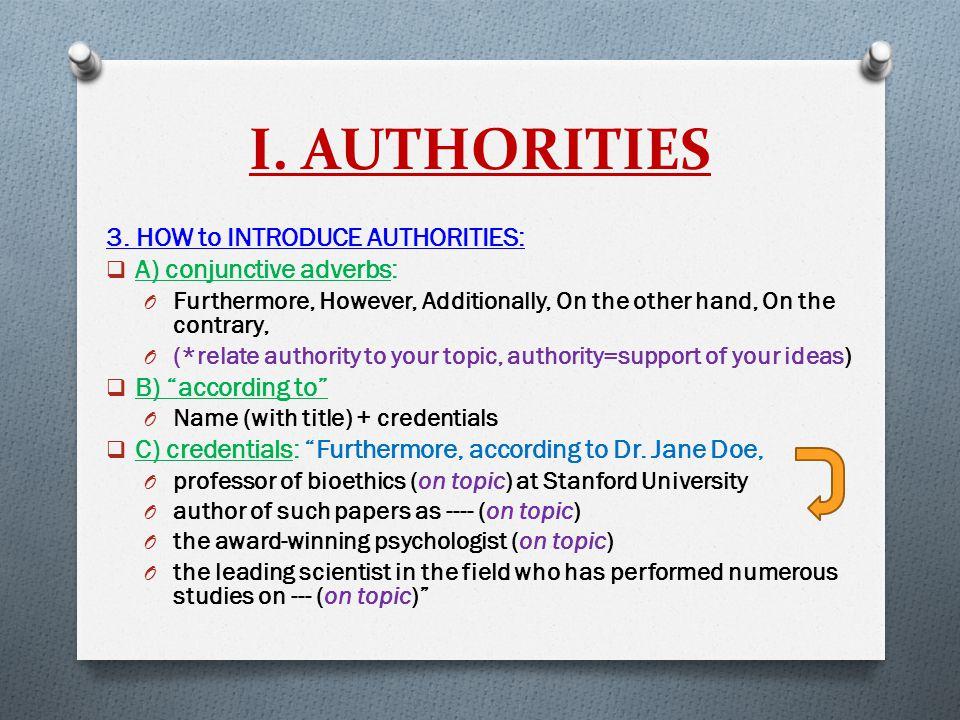 I. AUTHORITIES 3.