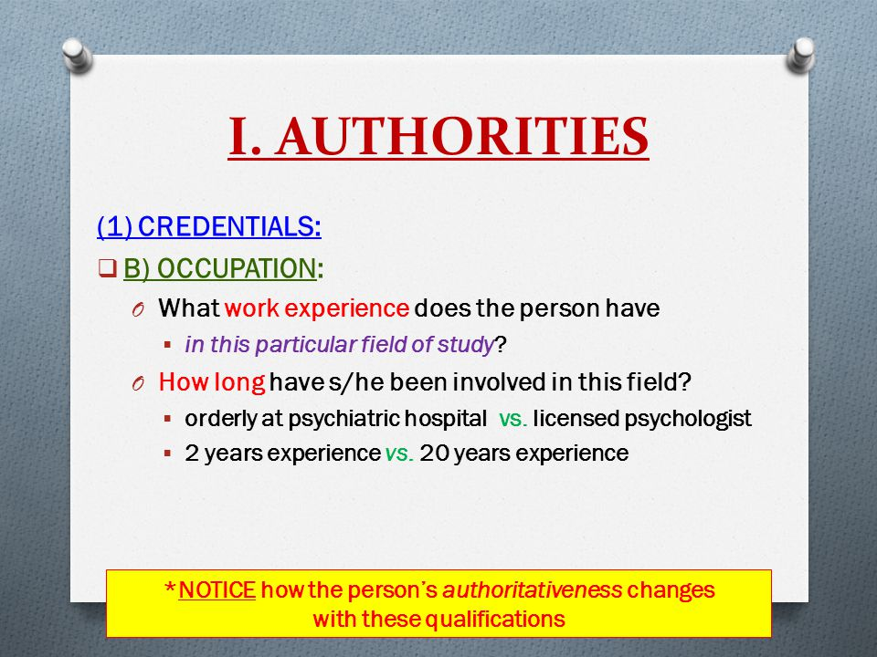 I. AUTHORITIES (1) CREDENTIALS:  B) OCCUPATION: O What work experience does the person have  in this particular field of study? O How long have s/he