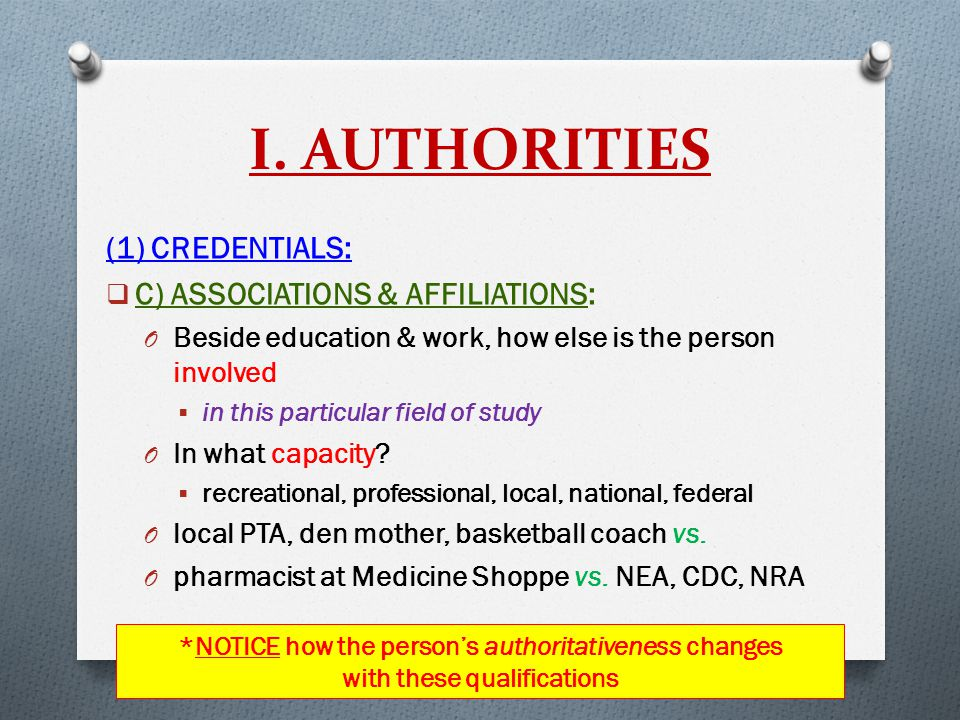 I. AUTHORITIES (1) CREDENTIALS:  C) ASSOCIATIONS & AFFILIATIONS: O Beside education & work, how else is the person involved  in this particular fiel