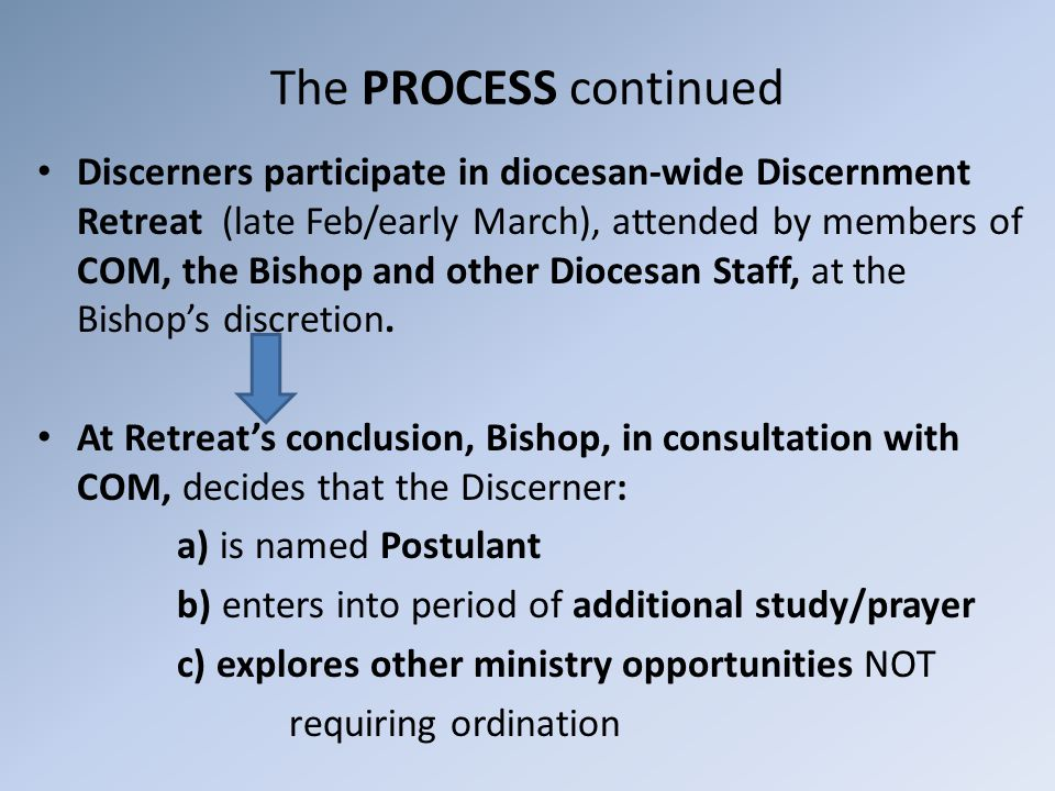 The PROCESS continued Discerners participate in diocesan-wide Discernment Retreat (late Feb/early March), attended by members of COM, the Bishop and other Diocesan Staff, at the Bishop's discretion.