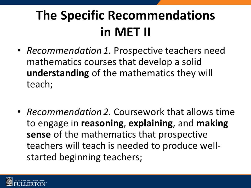The Specific Recommendations in MET II Recommendation 1.