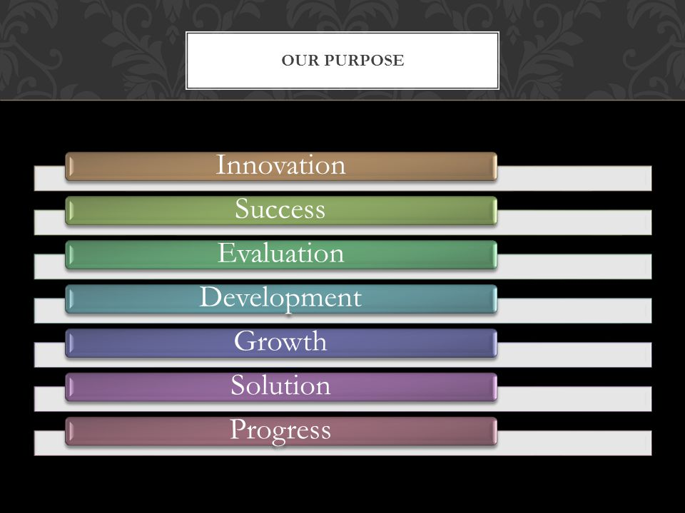 InnovationSuccessEvaluationDevelopmentGrowthSolutionProgress OUR PURPOSE